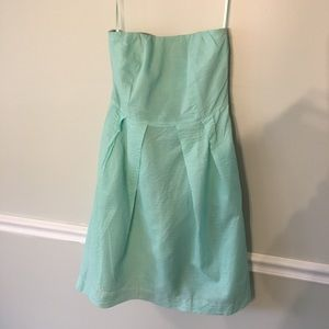 Jcrew strapless aqua pleated dress in size 10 Euc